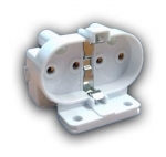 Патрон для люминесцентных ламп LST 22.401 2G11 для КЛЛ  PLL 4pin, накл.,вывод пр.к основ.и к тыльн, крепление на винты