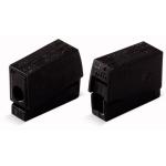 Клемма для подключения осветительных приборов WAGO 224-114 на 2 входных проводника сечением 1,0-2.5 мм2 без пасты, с непрерывной рабочей температурой 105°C, чёрный