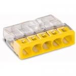 Клемма компактная 5-проводная WAGO 2273-205 COMPACT PUSH WIRE для распределительных коробок, без пасты, жёлтый / прозрачный