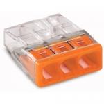 Клемма компактная 3-проводная WAGO 2273-203   COMPACT PUSH WIRE для распределительных коробок, без пасты, оранжевый / прозрачный