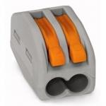 Клемма соединительная  2-проводная с нажимным рычагом WAGO 222-412 с CAGE CLAMP®  COMPACT-зажимом, с максимальной постоянной рабочей температурой 85°C, серый