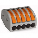 Клемма соединительная 5-проводная с нажимным рычагом WAGO 222-415 с CAGE CLAMP®  COMPACT-зажимом, с максимальной постоянной рабочей температурой 85°C, серый