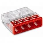 Клемма Wago 2273-244 монтажная рядная с пастой на 4 проводника до 2,5мм, красный / прозрачный