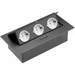 Удлинитель встраиваемый в стол GTV AE-PB03GS-20, 3xSCHUCKO, макс. 3600Вт, 16А, IP20, 220-240В / 50-60Гц, без провода, чёрный