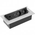 Удлинитель встраиваемый в стол GTV AE-PB02GSHDMI-53, 2xSCHUKO гнезда, 1xUSB data разъем, 1xHDMI разъем, 1xRJ45 сетевой разъем, без кабеля, корпус из алюминия и стали
