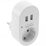 Розетка электрическая с USB портом GTV AE-GSS2USB-10, 1xSCHUKO, 2xUSB 5V/3.4A, белый корпус из пластика и поликарбоната