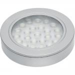 Светильник светодиодный встраиваемый/накладной GTV VASCO LD-VA24CB-53, 12V DC, 1,7W, 24 SMD3528, IP20, 150lm, 3000K, 200см провод с miniAMP (2 болта, лента 3M), серебристый