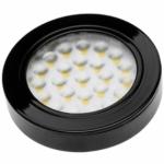 Светильник светодиодный встраиваемый/накладной GTV VASCO LD-VA24NE-20, 12V DC, 1,7W, 24 SMD3528, IP20, 150lm, 4000K, 200см провод с miniAMP (2 болта, лента 3M), чёрынй