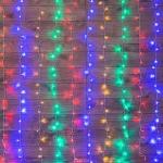 """Гирлянда светодиодная NEON-NIGHT 235-039  """"Светодиодный Дождь"""", 12Вт, 144LED, 1.5х1.5м, 230В, IP20, контроллер 8 режимов, свечение с динамикой, прозрачный провод, мультиколор диоды"""