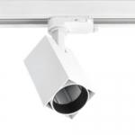 Светильник трековый трехфазный GTV XLD-LMAGU10KB-NB LIMA, 1xGU10 MR16, AC220-240V, 50/60Hz, IP20, IK08, квадратный плафон, белый корпус из алюминия