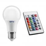 Лампа светодиодная GTV LD-PC2A60RGBW-8W, A60, E27, 8W, AC220-240V, 180°, 540lm, 70mA, ПДУ, RGBW