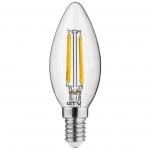 Лампа светодиодная GTV LD-C35FL5-30L-E FILAMENT E14, C35L, 5W, 3000K, 360°, AC175-265V, 400Lm, 43mA