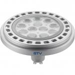 Лампа светодиодная GTV LD-ES11177-30, ES111, 12W, 12XPOWER LED, 3000K, GU10, 45°, 230V, 950 lm, прозрачное стекло, серый